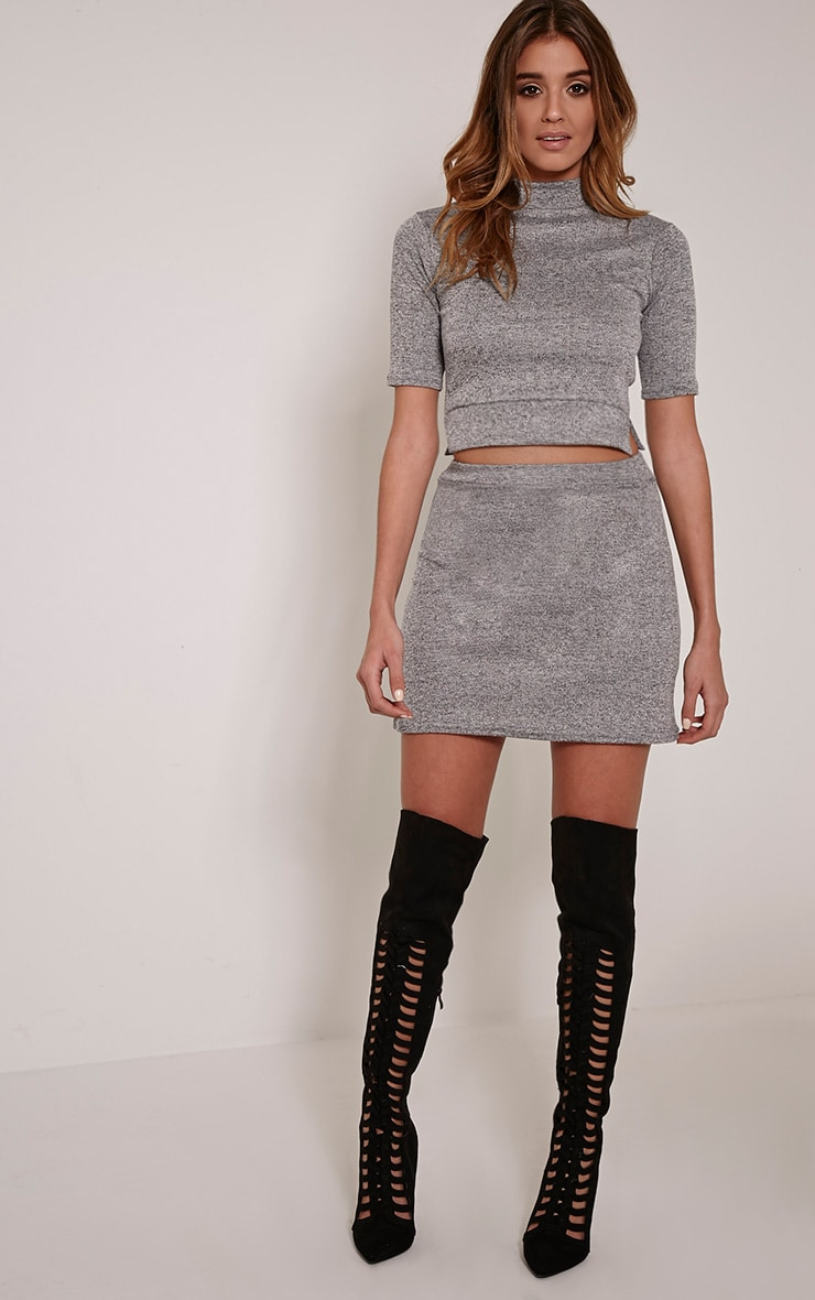 Zara Grey Knit High Neck Top 4