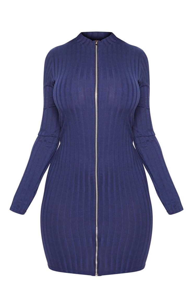Shape Navy Ribbed Zip Front Bodycon Dress 3