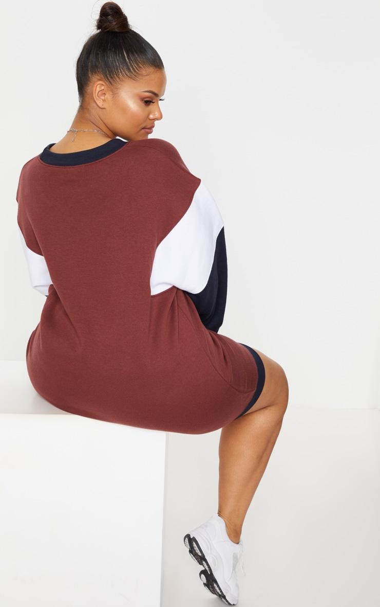 Plus Brown Oversized Contrast Panel Sweater Dress 2