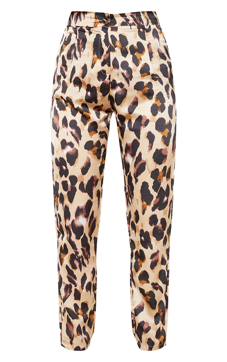 Leopard Print Satin Feel Printed Slim Leg Trouser 3