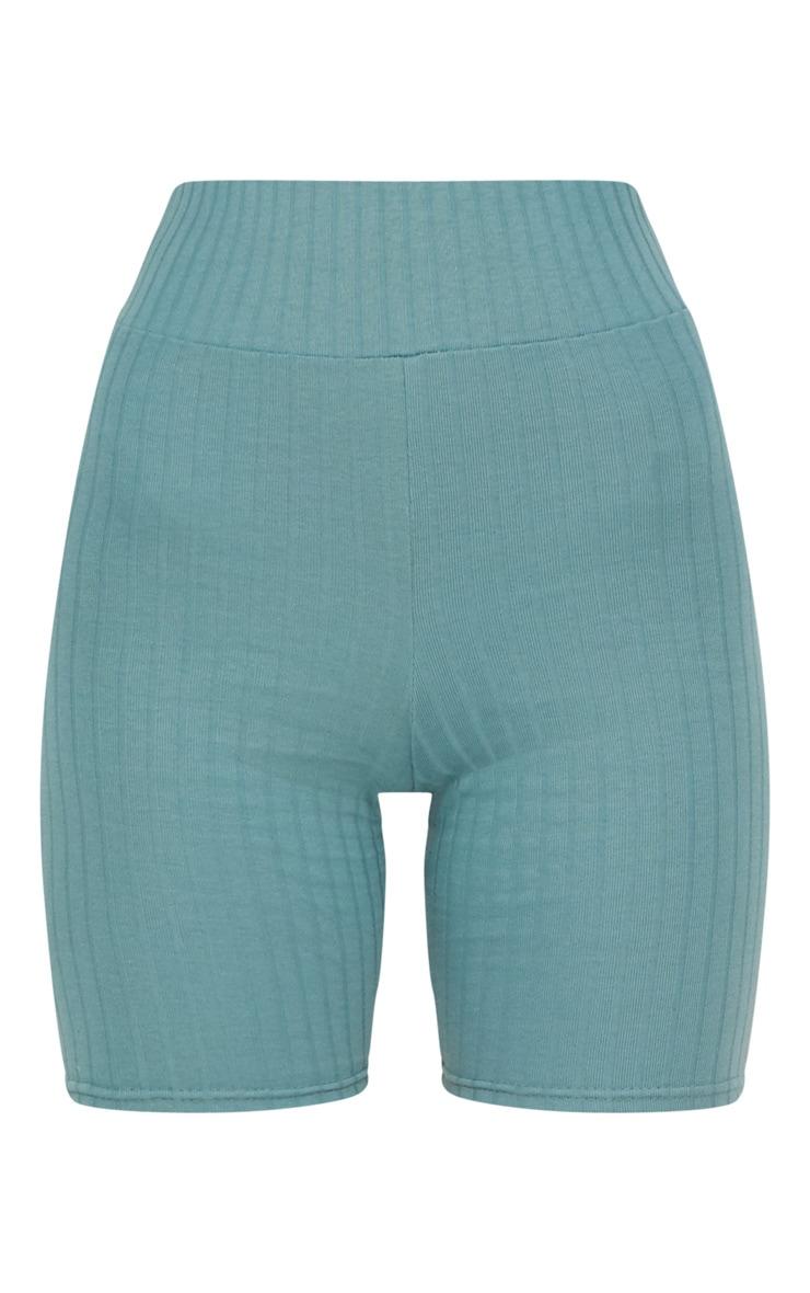 Mineral Blue Rib High Waisted Cycle Shorts 3