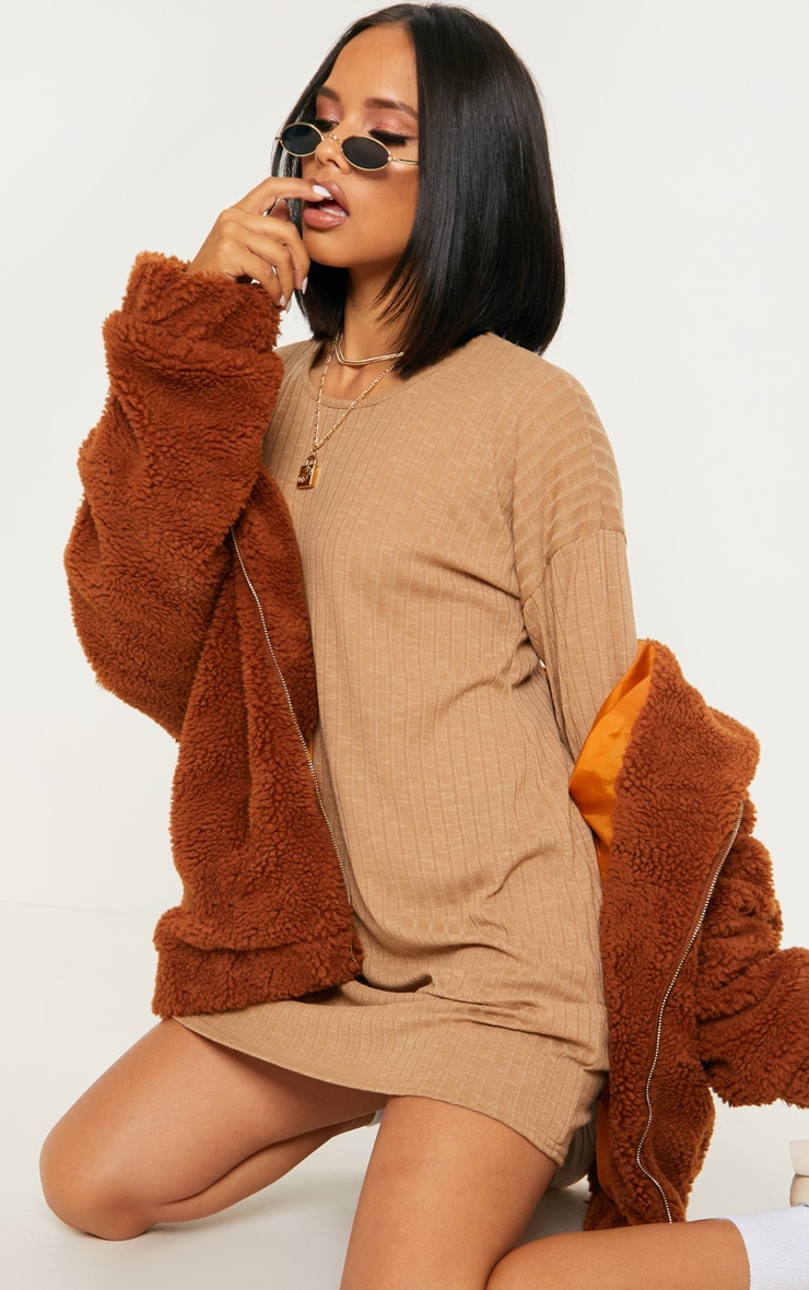 Camel Wide Ribbed Oversized Jumper Dress 5