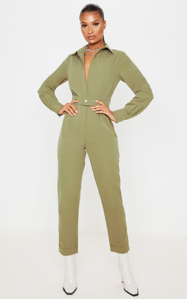 Khaki Tailored Long Sleeve Jumpsuit 4