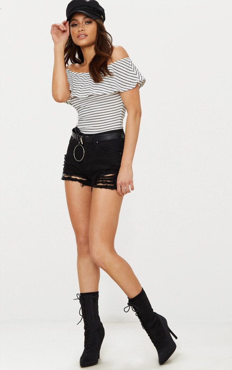 White Stripe Bardot Frill Thong Bodysuit 5