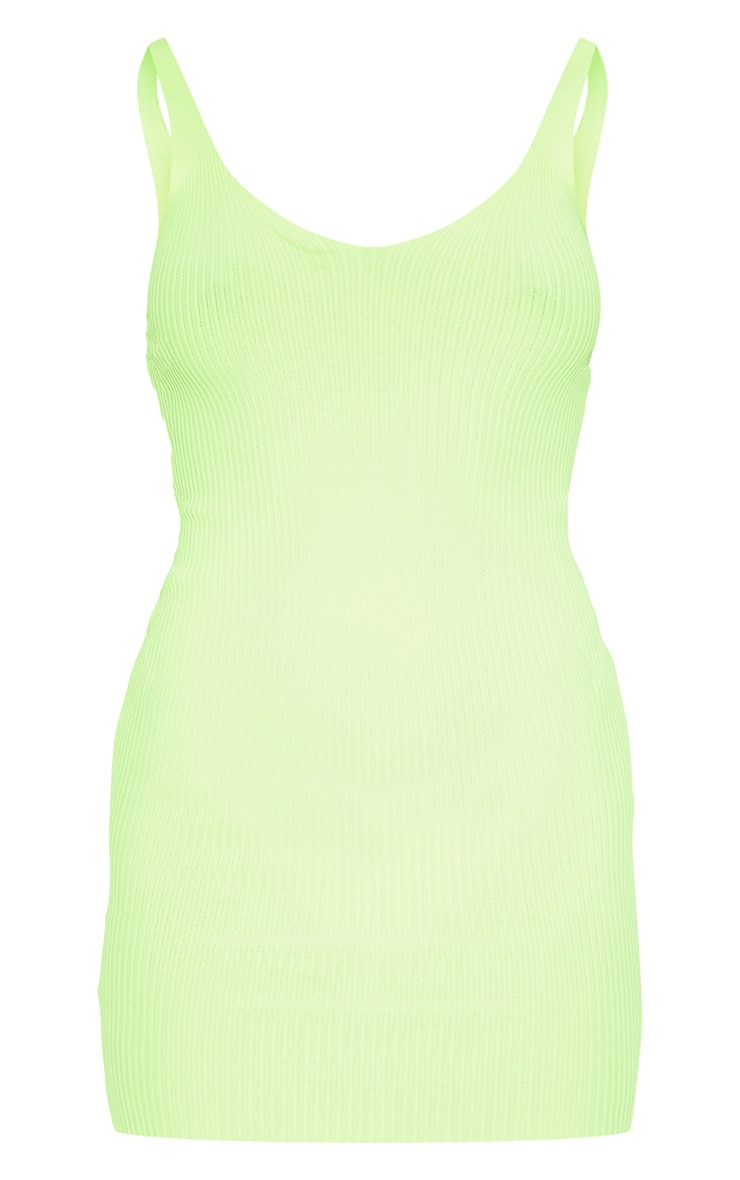 Neon Yellow Strappy Ribbed Knit Dress  3