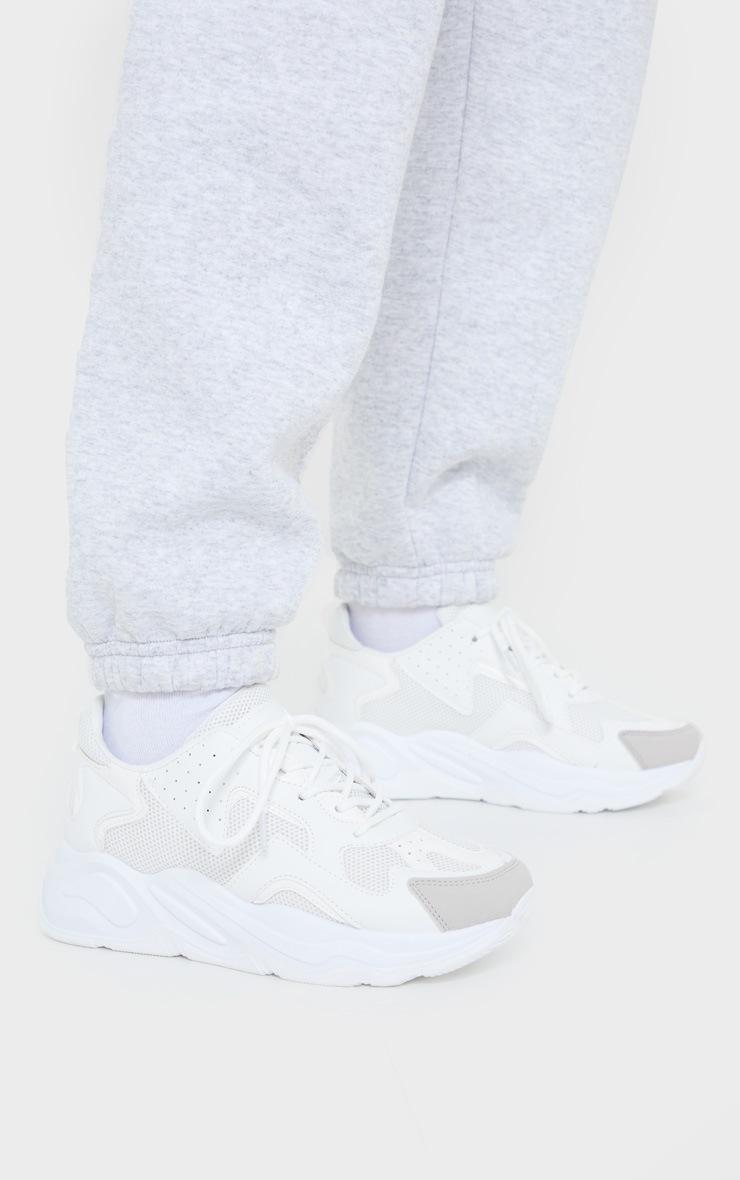 White Mesh Multi Panel Sneakers 2
