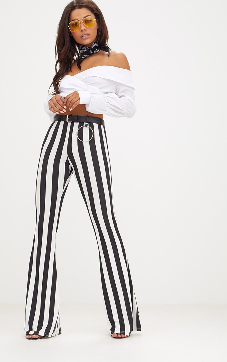 Monochrome Humbug Stripe Flared Trousers 1