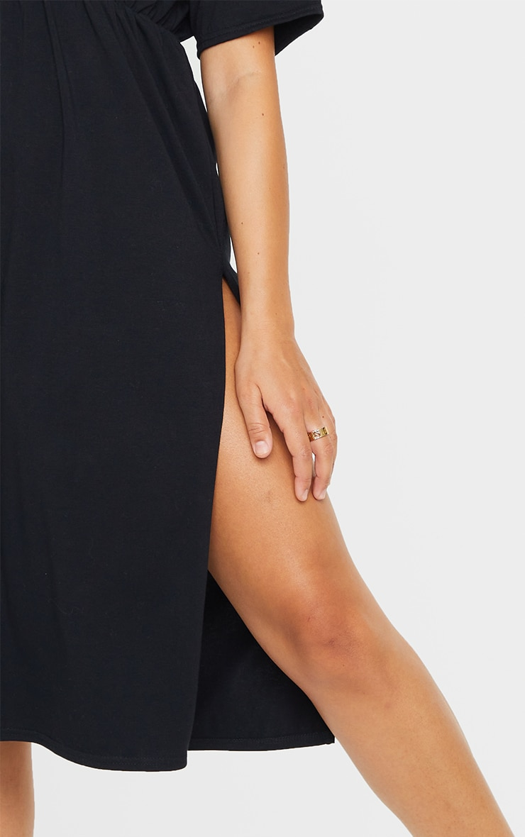Black T Shirt Split Detail Midi Dress 4