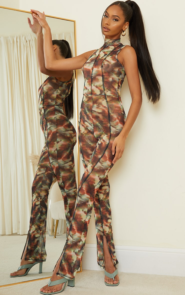 Green Marble Print Contrast Stitch High Neck Mesh Jumpsuit 1