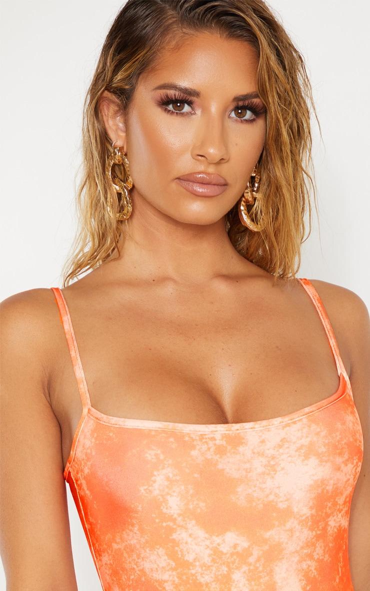 Orange Acid Print Scoop Swimsuit 6
