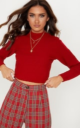 Red Ribbed Cropped Knitted Jumper 1