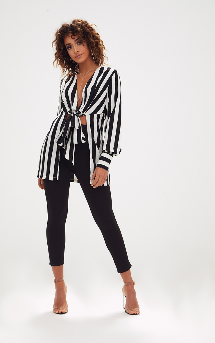 Monochrome Stripe Tie Front Long Blouse 4