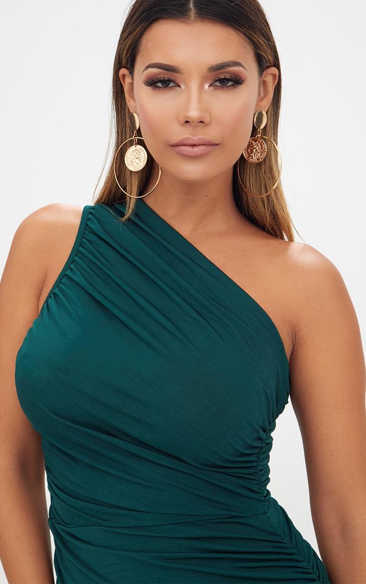 bbd01c32110 Emerald Green Slinky Ruched One Shoulder Longline Midi Dress image 5