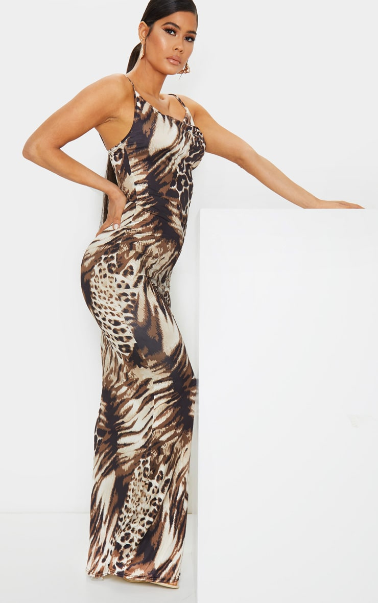 Nude Leopard Print Cowl Neck Strappy Maxi Dress 3