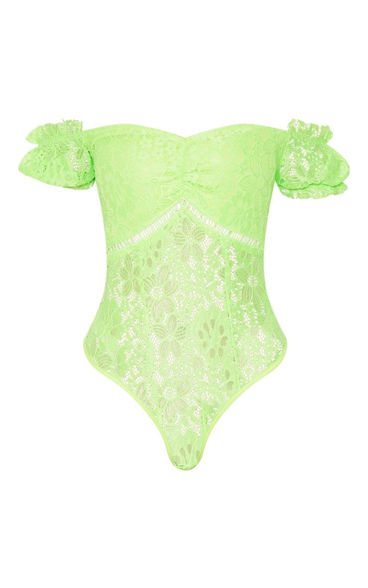 Neon Lime Lace Bardot Bodysuit 3