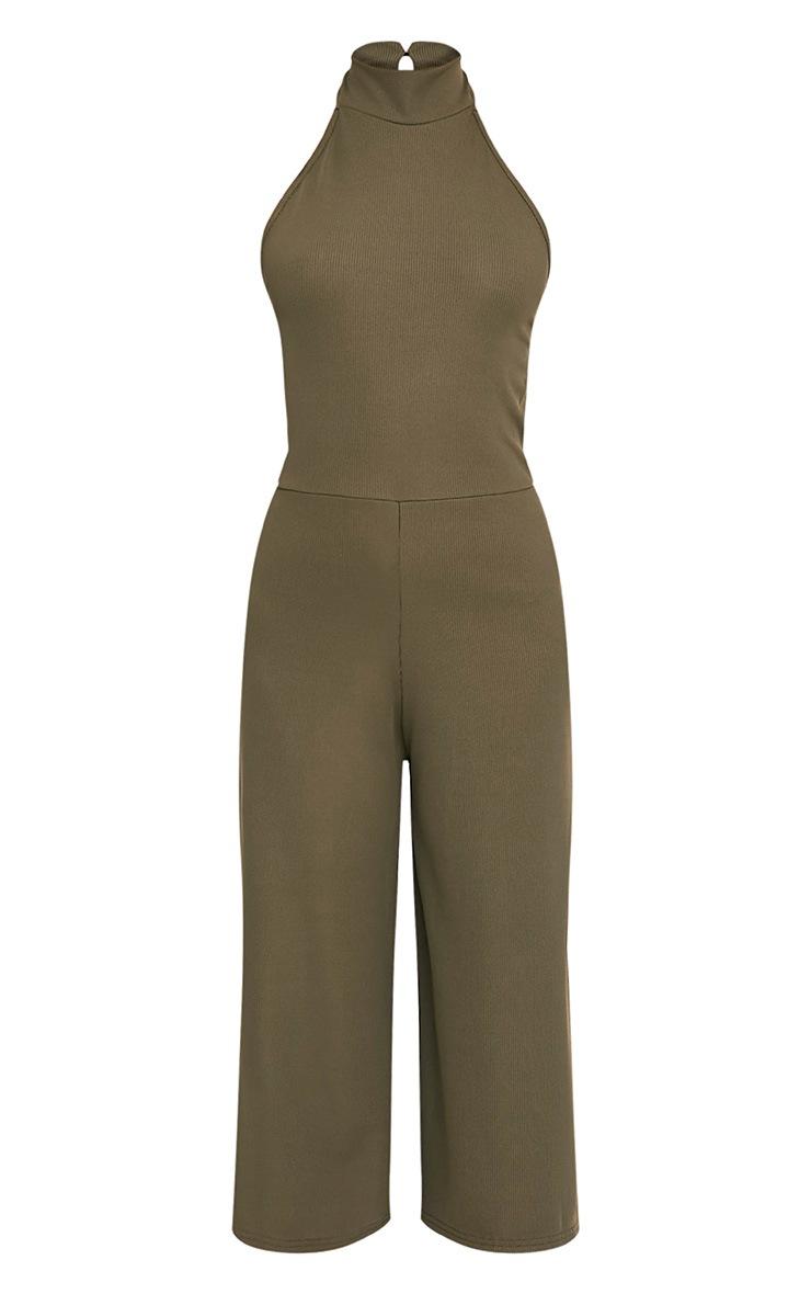Marcie Khaki High Neck Low Back Culotte Jumpsuit 3