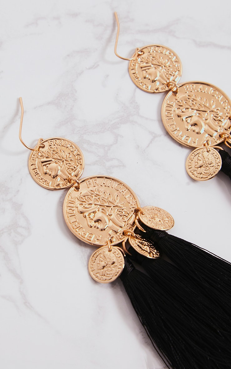 Black Coin Drop Tassel Earrings 4