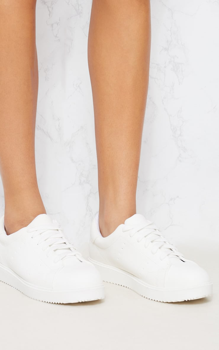 White Lace Up Trainer 4