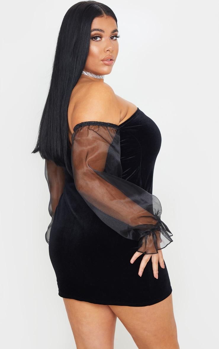 Plus Black Velvet Organza Sleeve Bodycon Dress 2