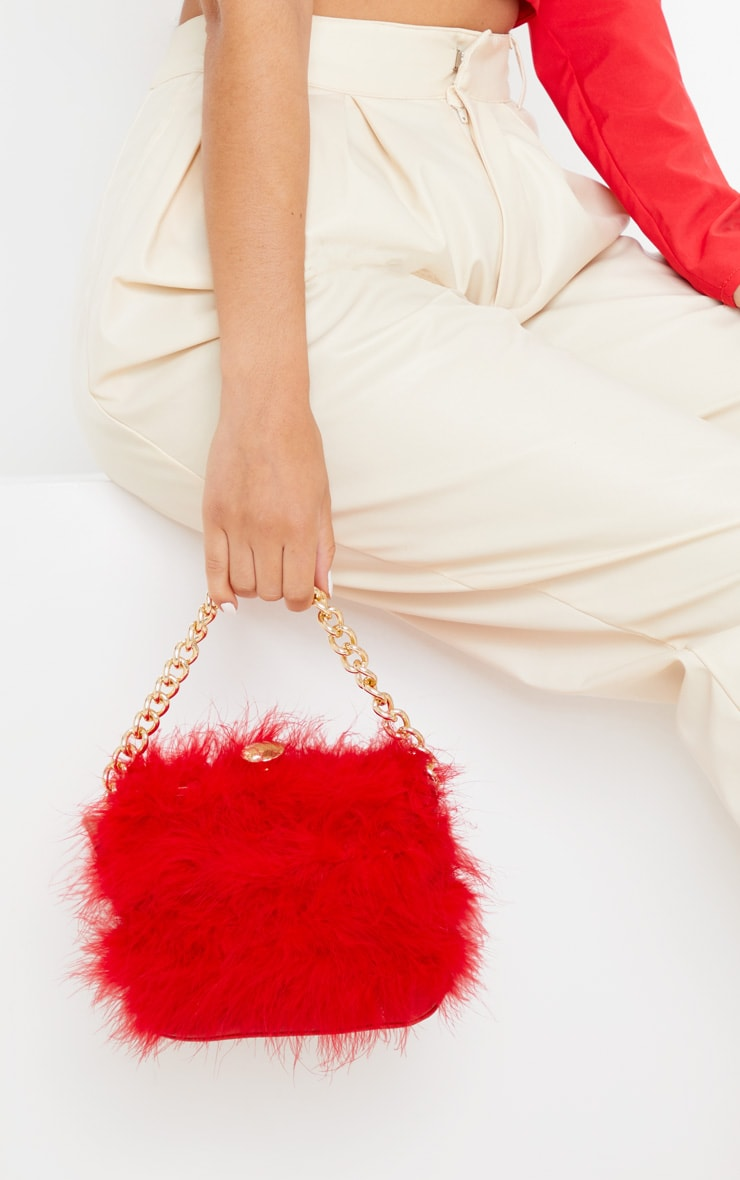 Red Marabou Large Clutch Bag 1