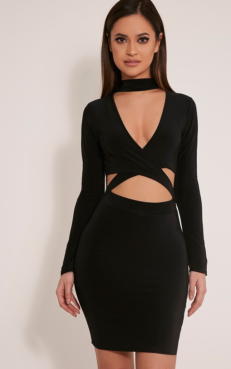 Nadeena Black Neck Detail Cut Out Bodycon Dress 1