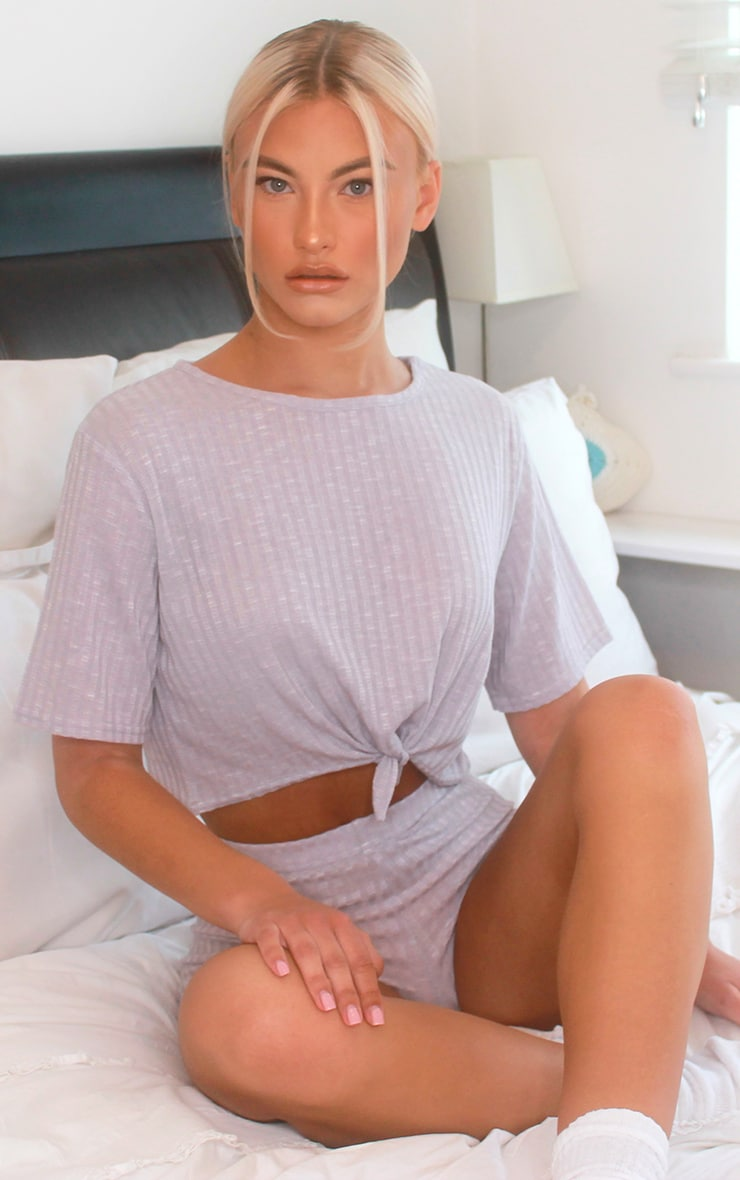 Grey Tie Front Rib Knitted Short Set 3
