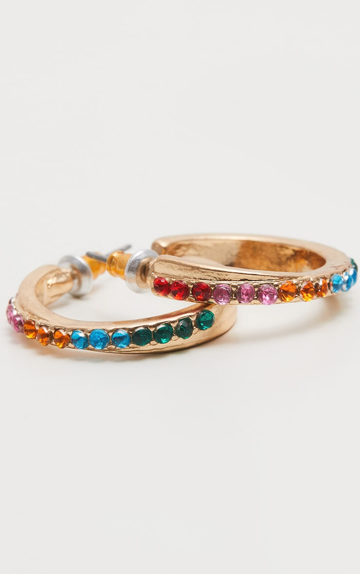 Multi Colour Gem Hoop Earrings 3