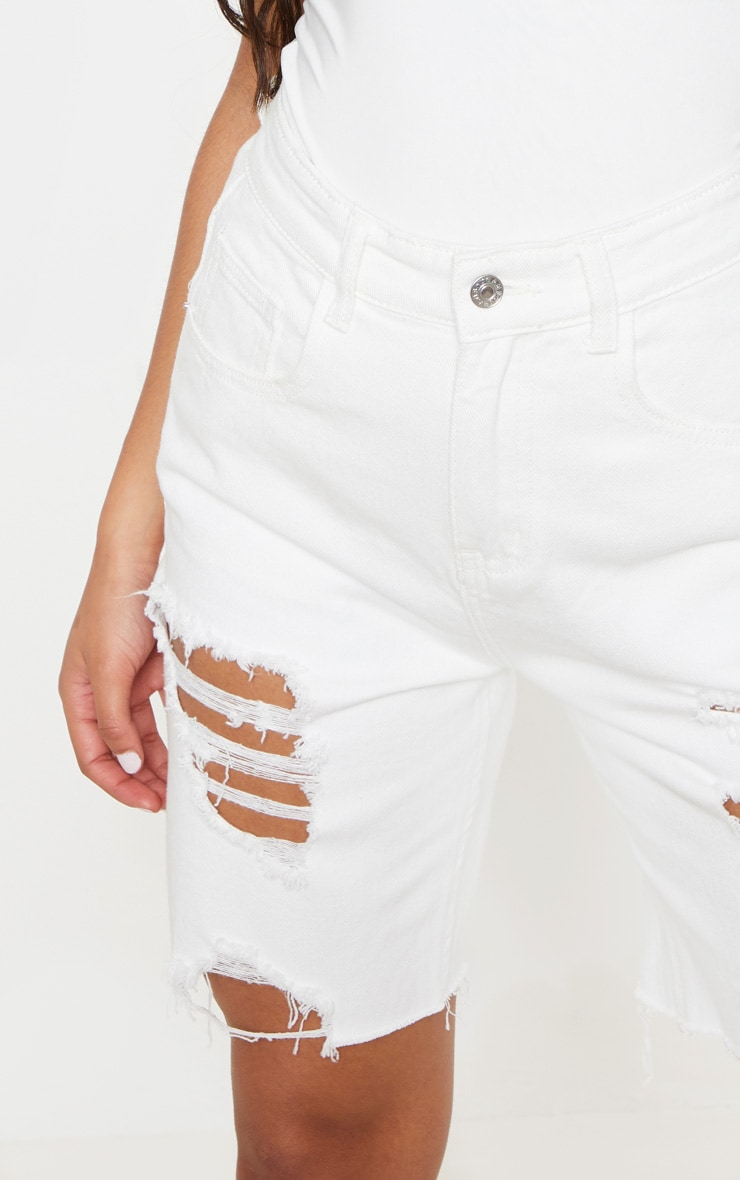 White Heavy Distressed Mom Shorts  6