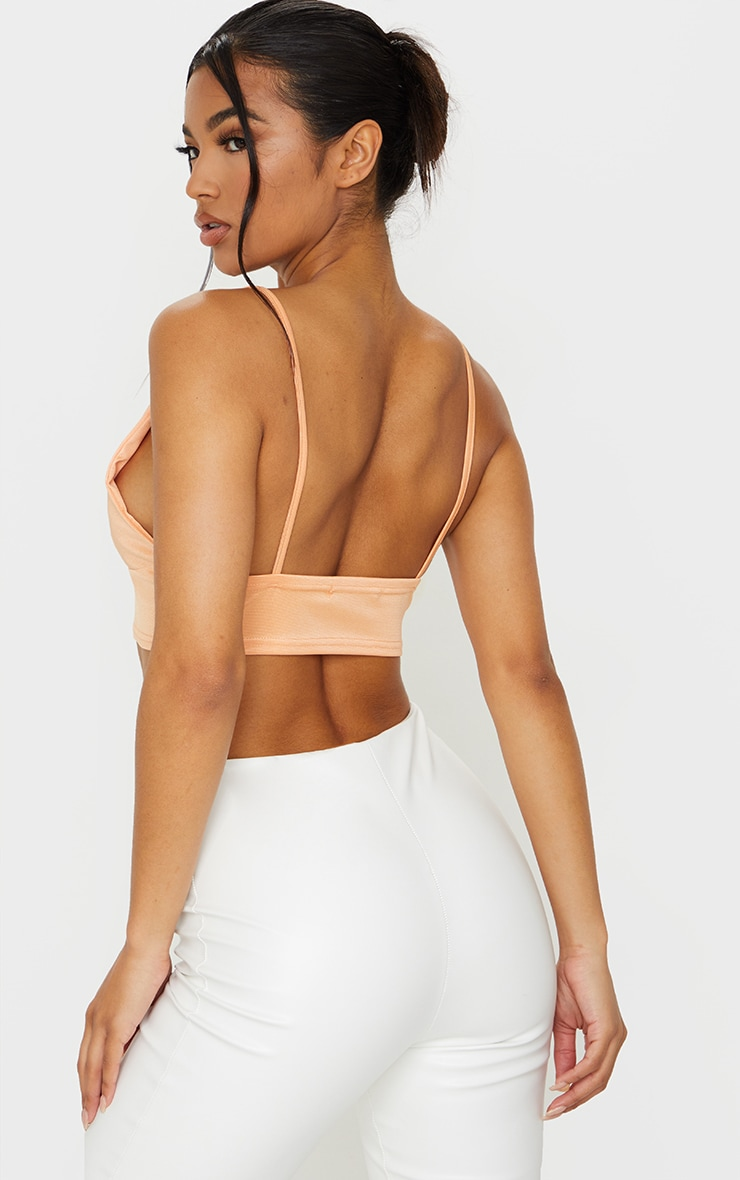 Tangerine Stretch Satin Bralet 2