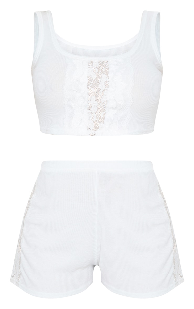 White Lace Panel Cami And Shorts PJ Set 5