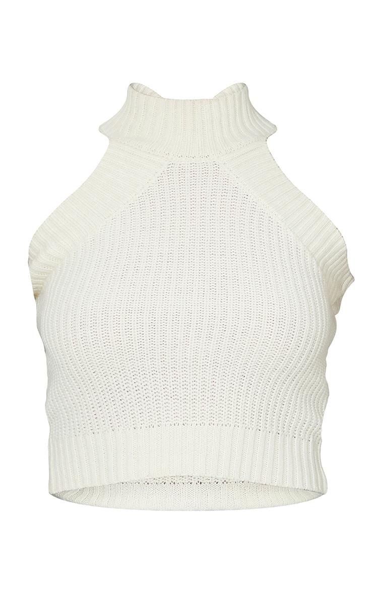 Cream High Neck Knitted Vest 5