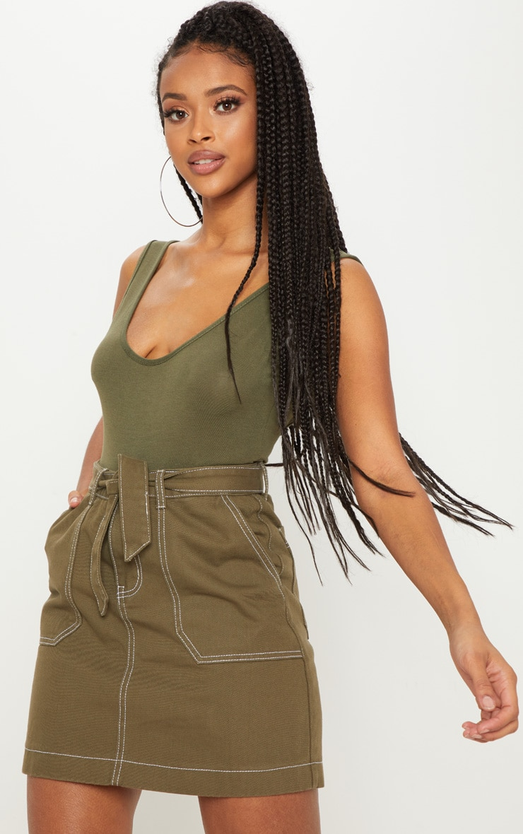 Khaki Tie Waist Denim Mini Skirt
