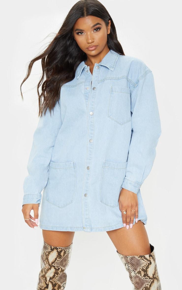 Chemise oversize en jean bleu très délavé 1