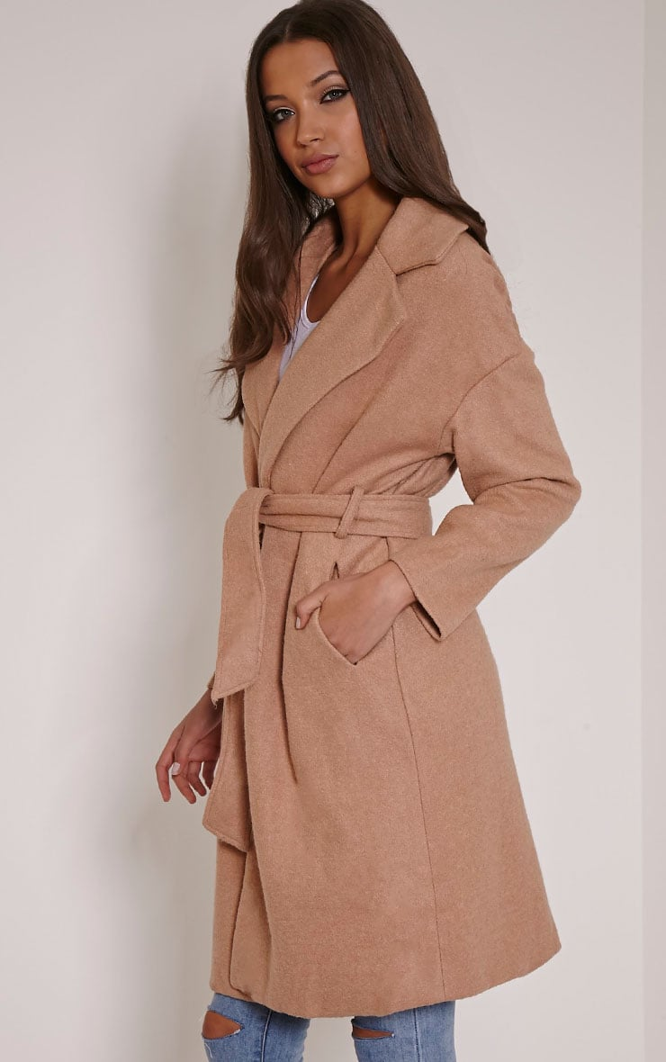 Evangeline Camel Belted Wool Trench Coat 3