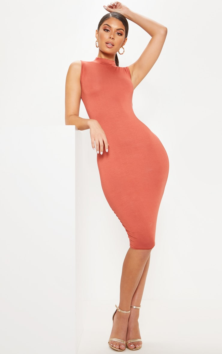 Terracotta High Neck Sleeveless Midi Dress 1