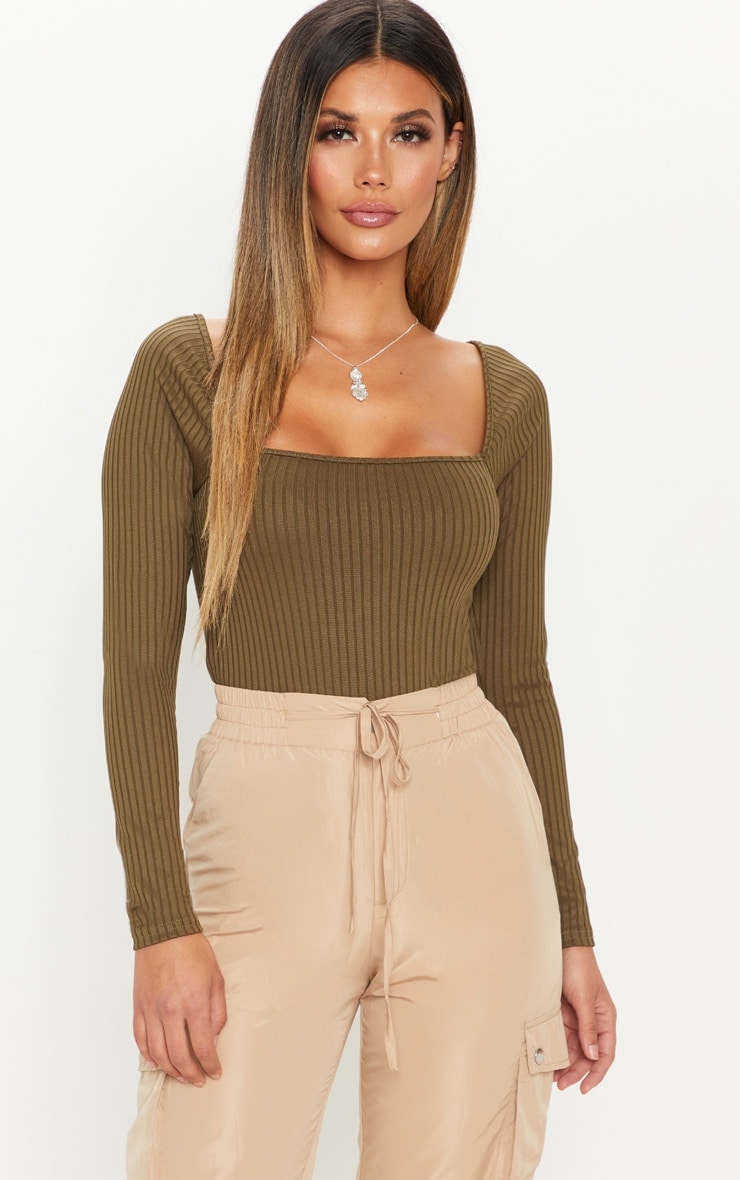 Khaki Long Sleeve Square Neck Rib Top