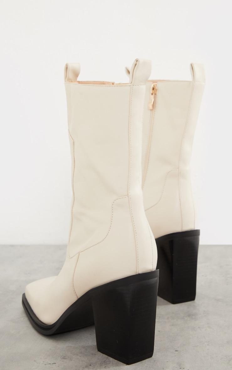 Cream PU Square Toe Western Boots 4