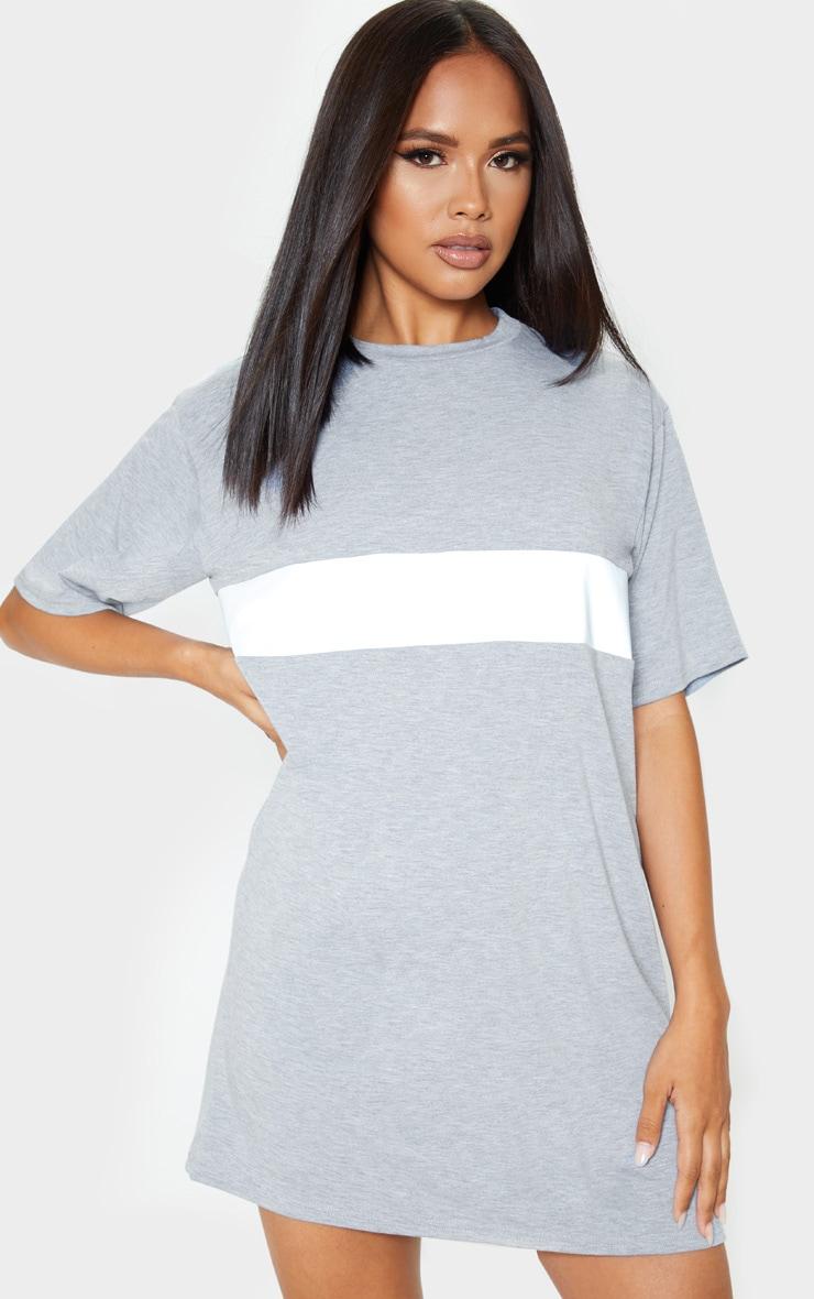 Grey Reflective Panel T Shirt Dress 4