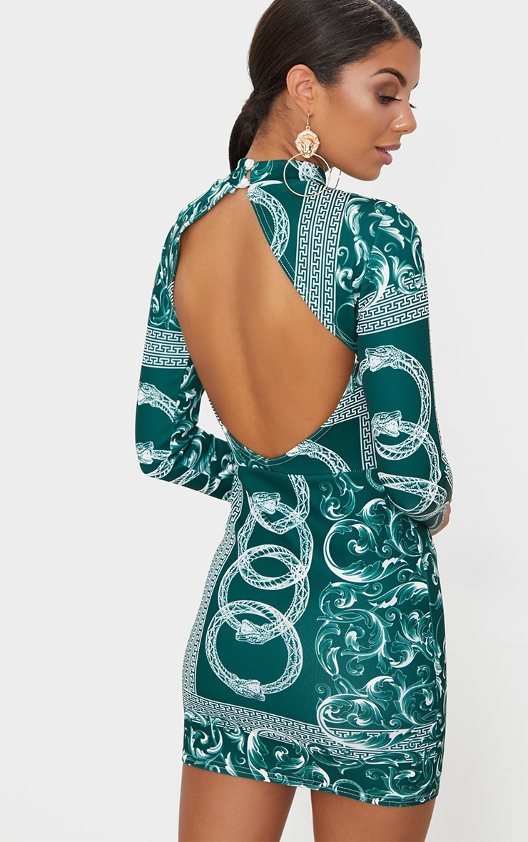 Emerald Green Long Sleeve High Neck Printed Backless Bodycon Dress 1