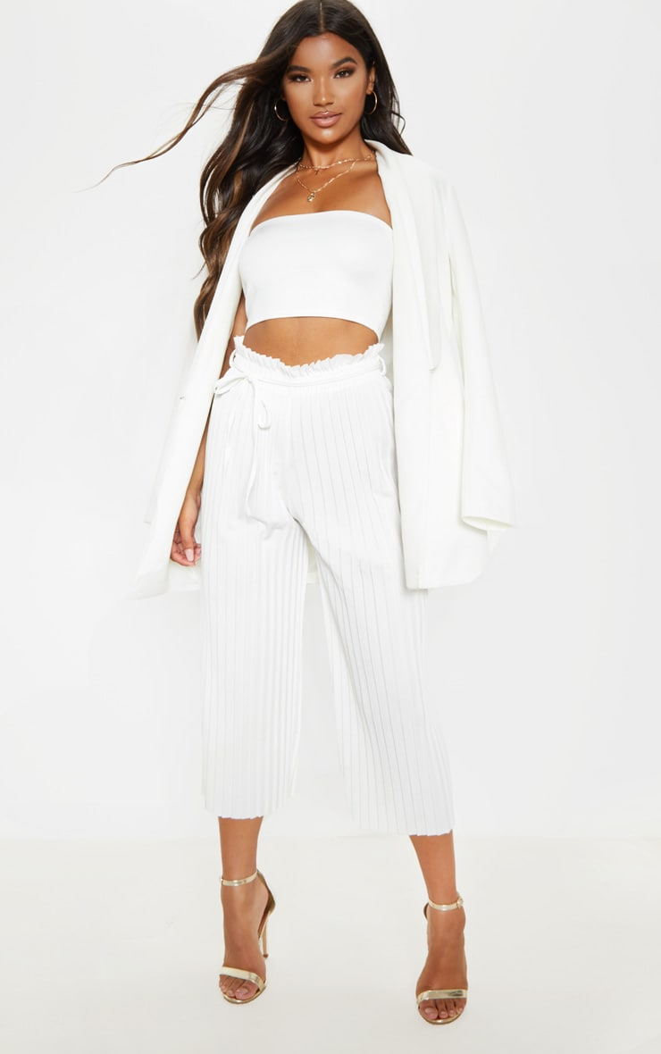 White Pleated Tie Waist Culottes 1