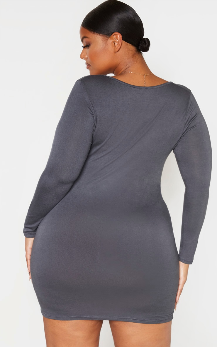 Plus Charcoal Jersey Ruched Front Bodycon Dress 2