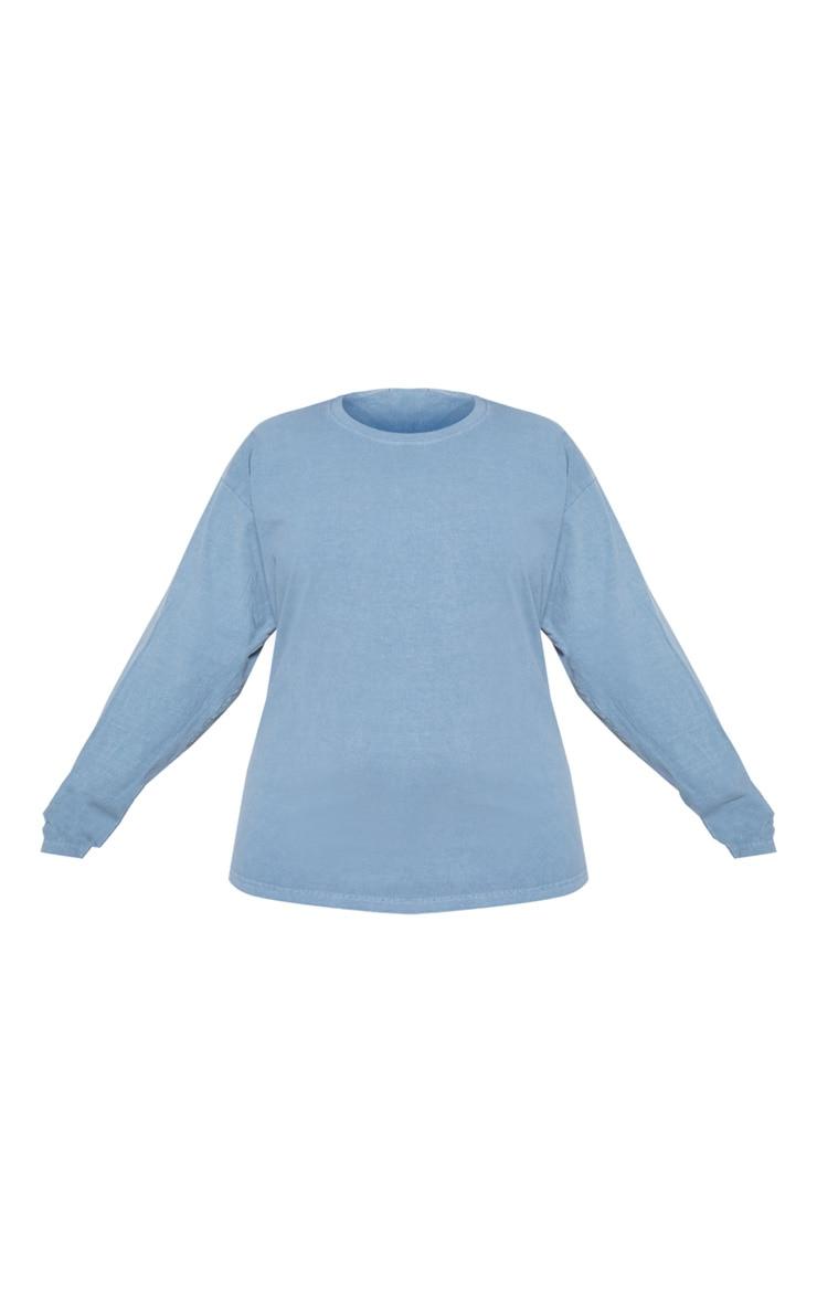 Plus Dusky Blue Long Sleeve T-shirt  3