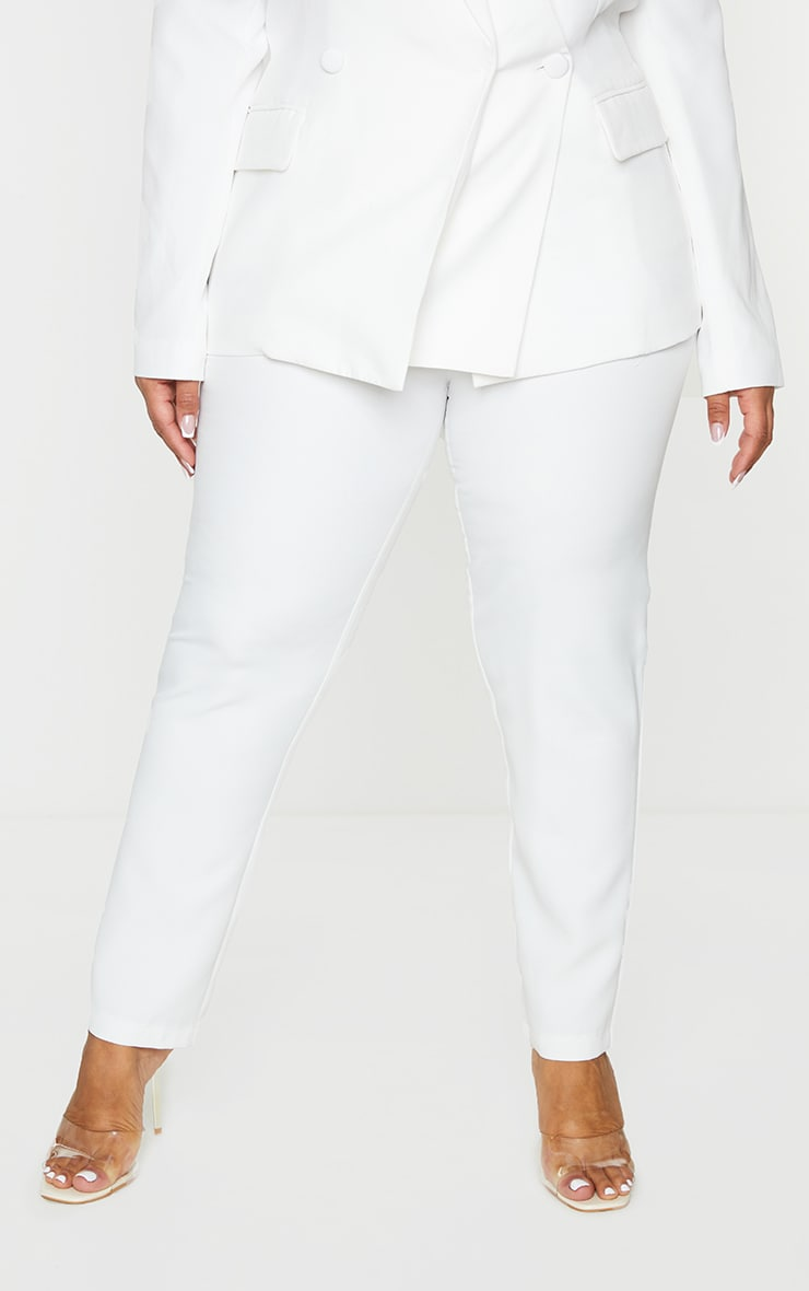 Plus White Tailored Fitted Pants 2