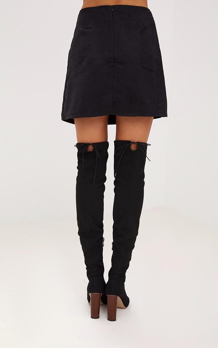 Black Faux Suede Heart Patch A Line Mini Skirt 4