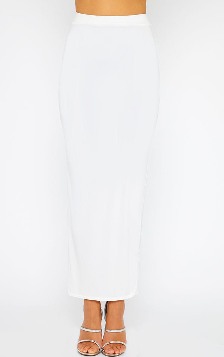 Maizie Cream Slinky Split Maxi Skirt 2