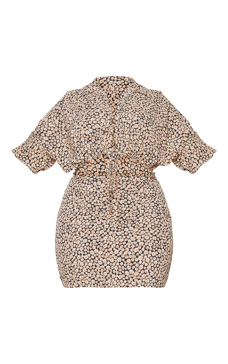 Plus Black Floral Cut Out Adjustable Ruched Dress 5