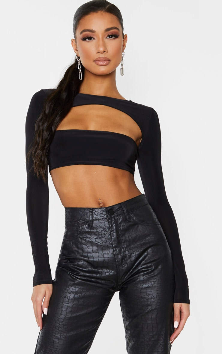Black Slinky Front Cut Out Crop Top 1