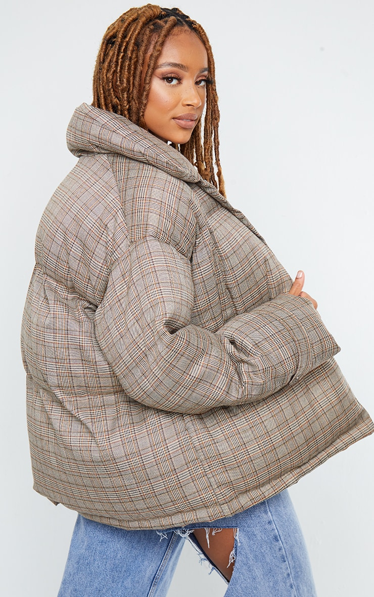 Brown Check Oversized Quilted Large Collar Puffer Coat 2