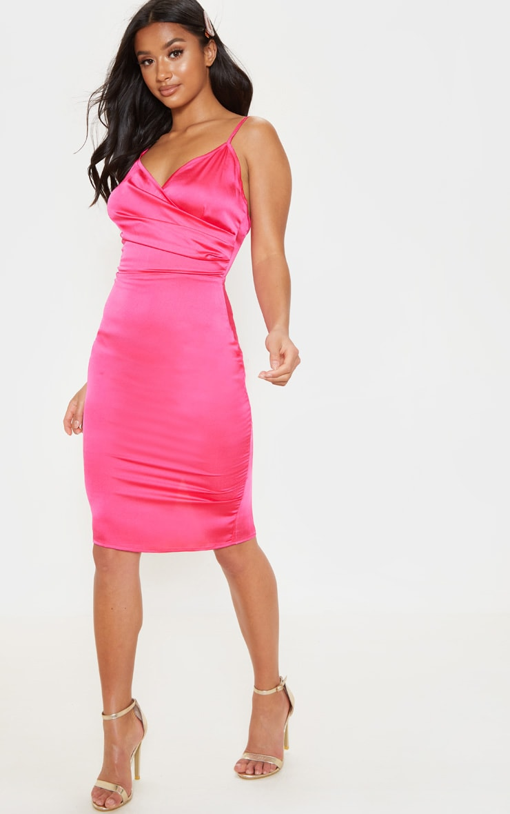 Petite Hot Pink Satin Strappy Midi Dress 4