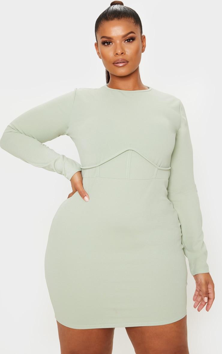 Plus Sage Khaki Crepe Corset Detail Long Sleeve Bodycon Dress 1